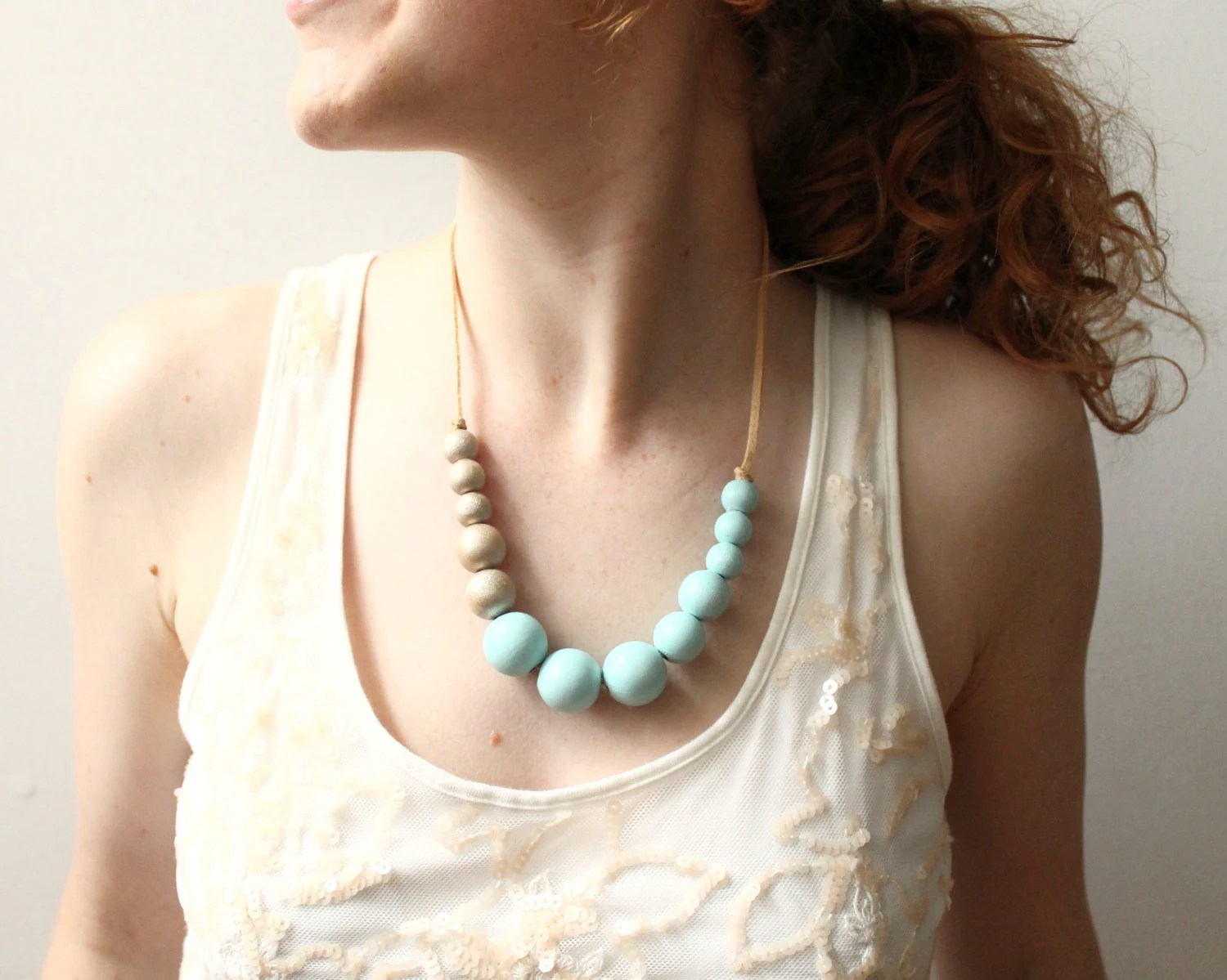 Mint and Gold Chunky Necklace, Wooden Bead Necklace, Summer Accessory - AnnikaLikes