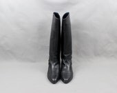 Equestrian Tall Harness Boots Black Supple Leather Vintage Boots Size 6 European 39 - SouthwestVintage