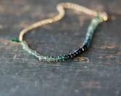 Ocean Sapphire Array Bracelet Premium Gemstone Ombre Blue Teal Green Handmade Jewelry - ShopClementine