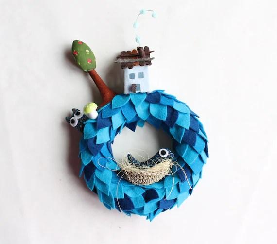 Blue wreath for wall or door decoration. Children decor. Housewarming gift.