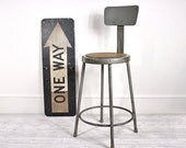Vintage Industrial Metal Stool / Industrial Decor - havenvintage