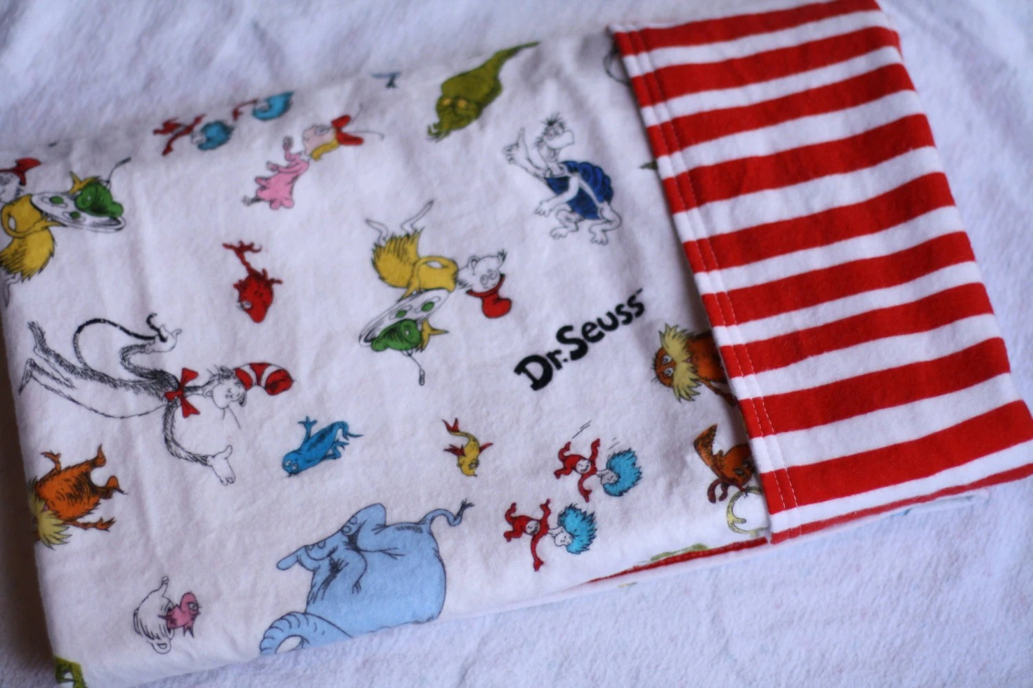 Baby Receiving Blanket - Oversized Double-Sided Flannel Baby Receiving Blanket - Dr. Seuss Characters and Dr. Seuss Red Squiggle Stripe - FColenbranderDesigns