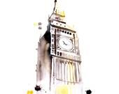 London Big Ben Original watercolor painting 13 x 18 - aquatory