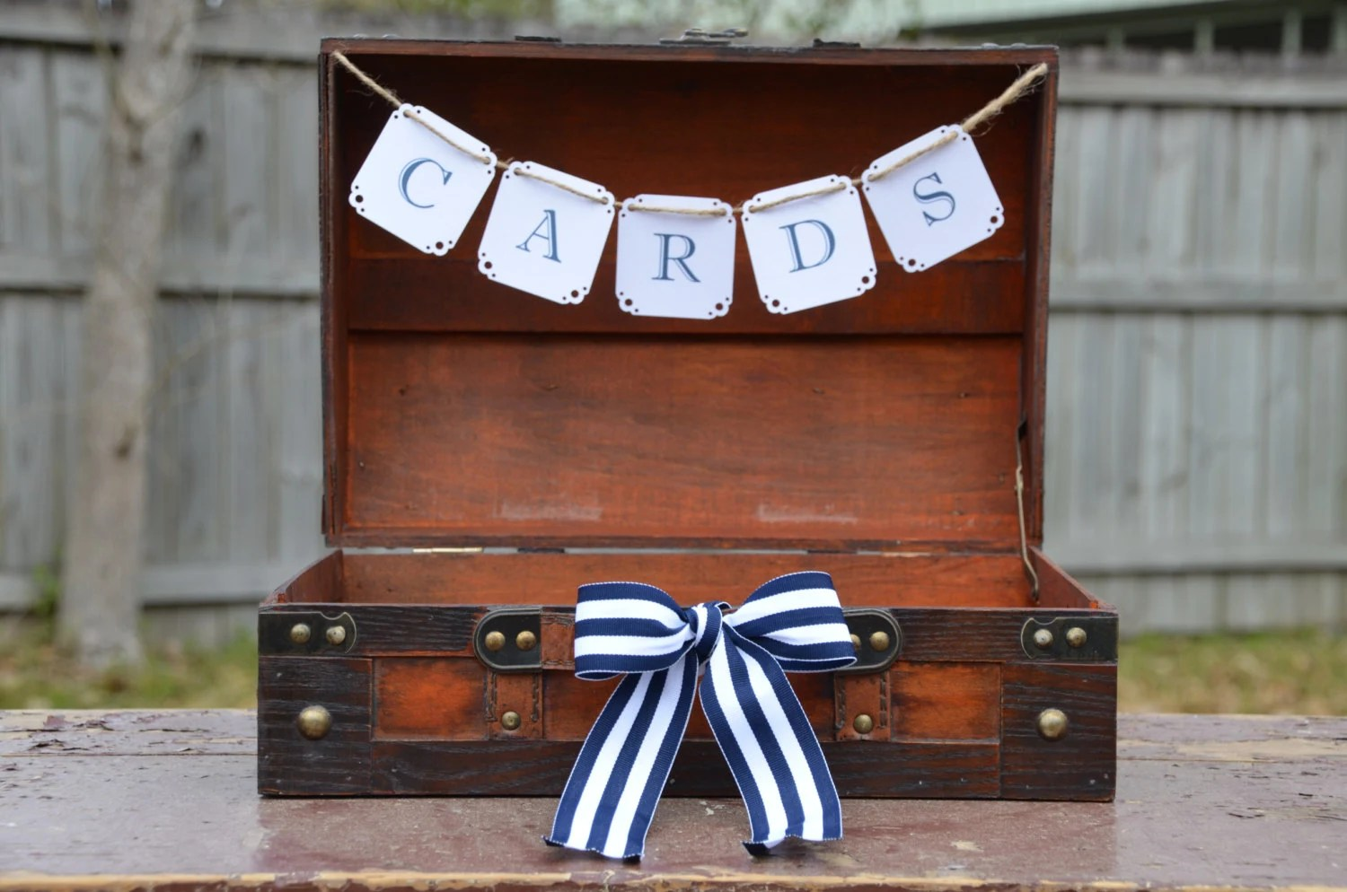 Nautical wedding suitcase, Rustic wedding card holder, Card box trunk - SgtPeppersHeartsClub