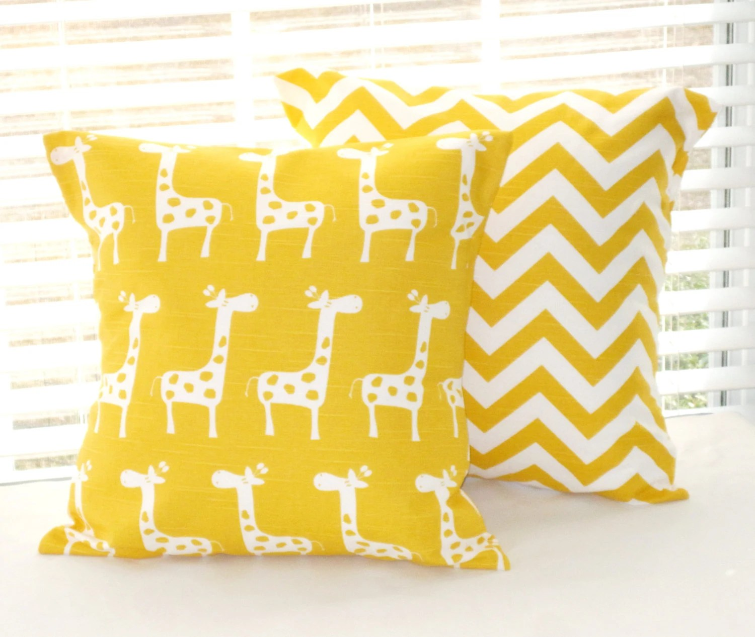 Yellow Baby Bedding, Baby Nursery, Yellow Giraffes and Chevron, set of 2 - 18