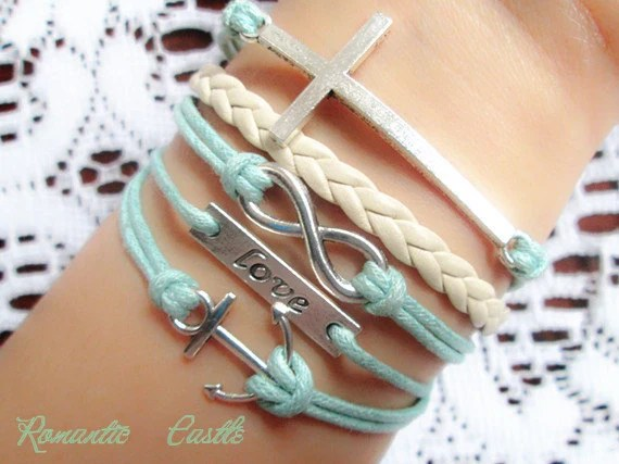 Infinity bracelet,anchor bracelet,mint green,cross bracelet, braid leather bracelet,wonderful gift---B4-001 - RomanticCastle