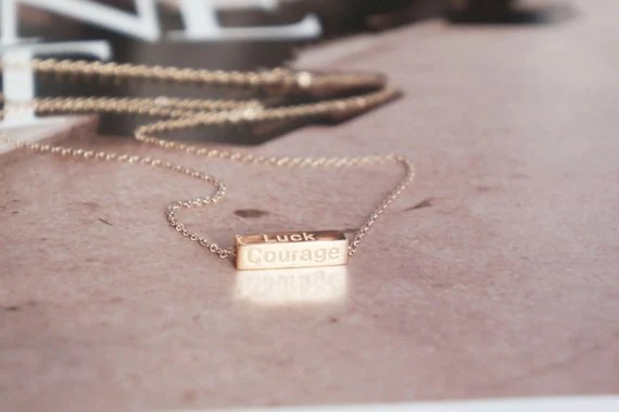 Rose gold motto words bar necklace