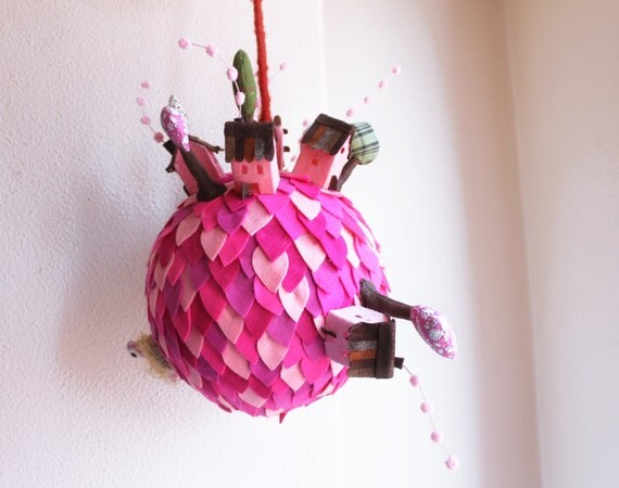 Pink Planet. Mobile ornament. Children Room decor
