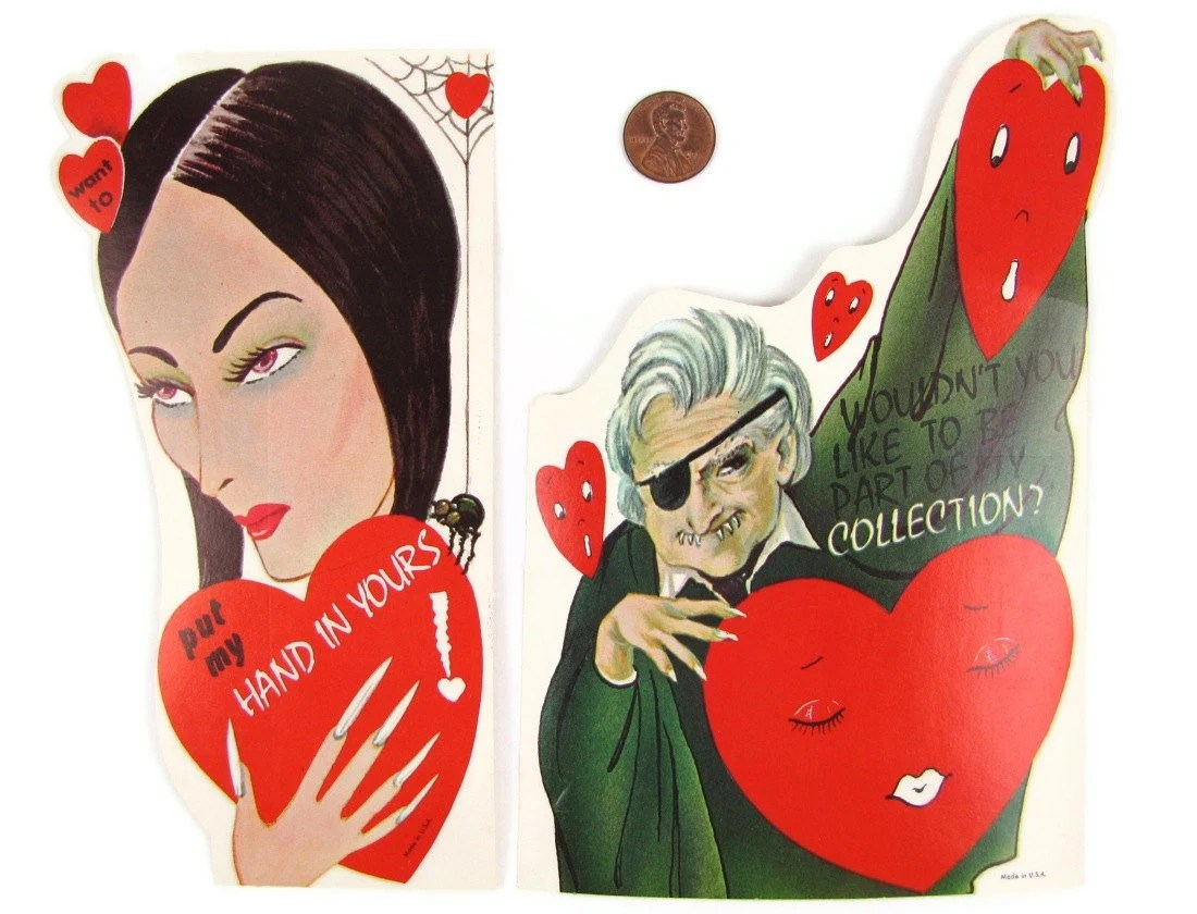 Monster Mash - 2 Vintage 1960s Horror Movie TV Host Valentine's Day Cards, Vampira with Spider, Dr. Scar with Eye Patch, Very Rare, Unused