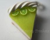 Key Lime Cheesecake Charm, Miniature Food Jewelry, Polymer Clay Food pendant Key lime Pie - Sweetnsavorytrinkets