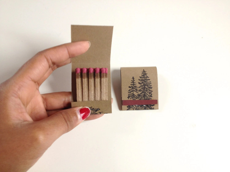 "Pine Tree ""Warmth"" Matchbooks - Set of Two - handmadehabitat"