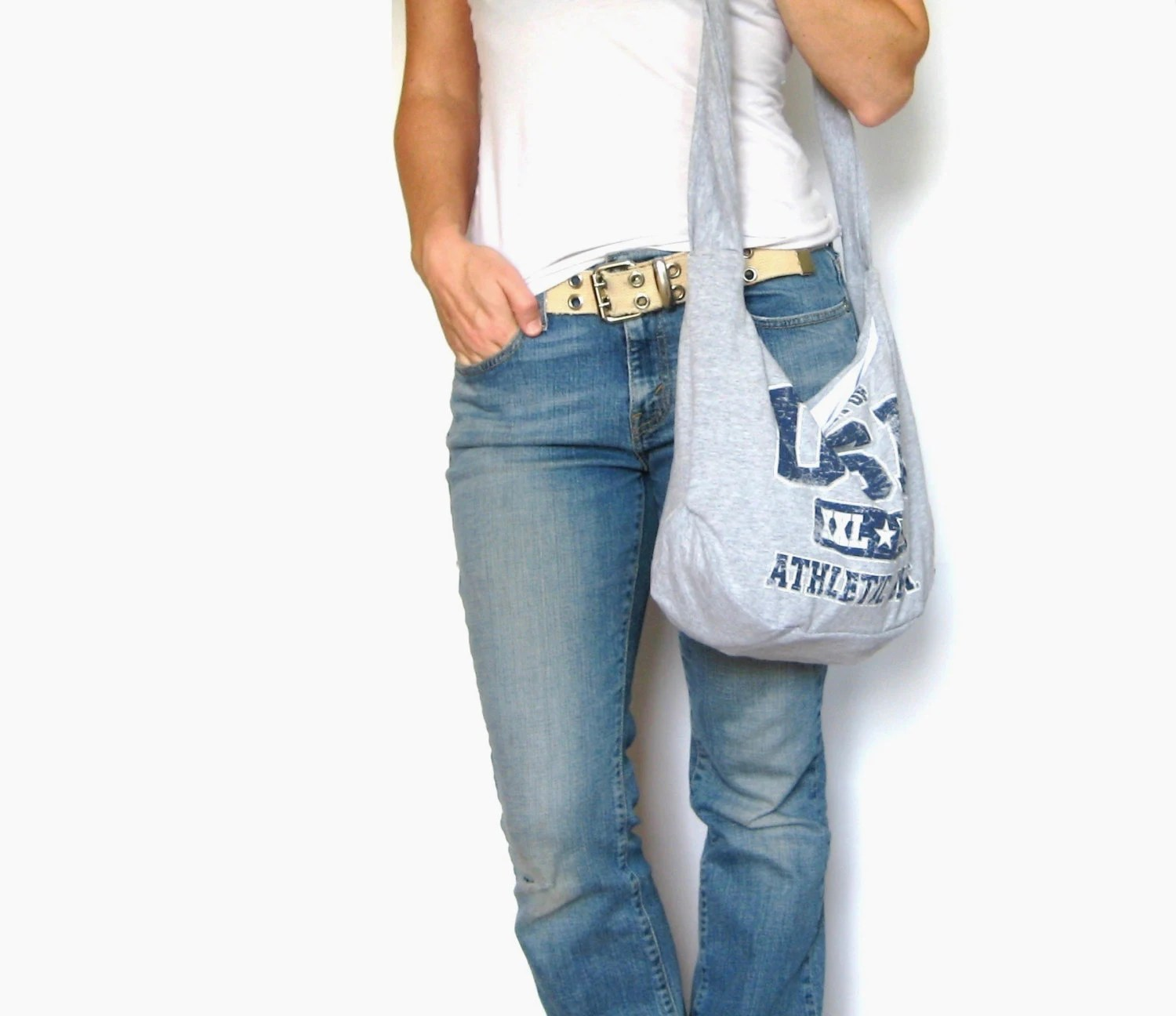 T-Shirt Purse. USA America Upcycled Shirt. Hobo Bag. Cross Body Bag. Eco Fashion. Gray Red White and Blue. Ready to Ship One Available. - SmiLeaGainCreations