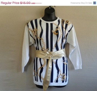 20% OFF Plus Size Vintage Nautical Sweater w/Gold Accents