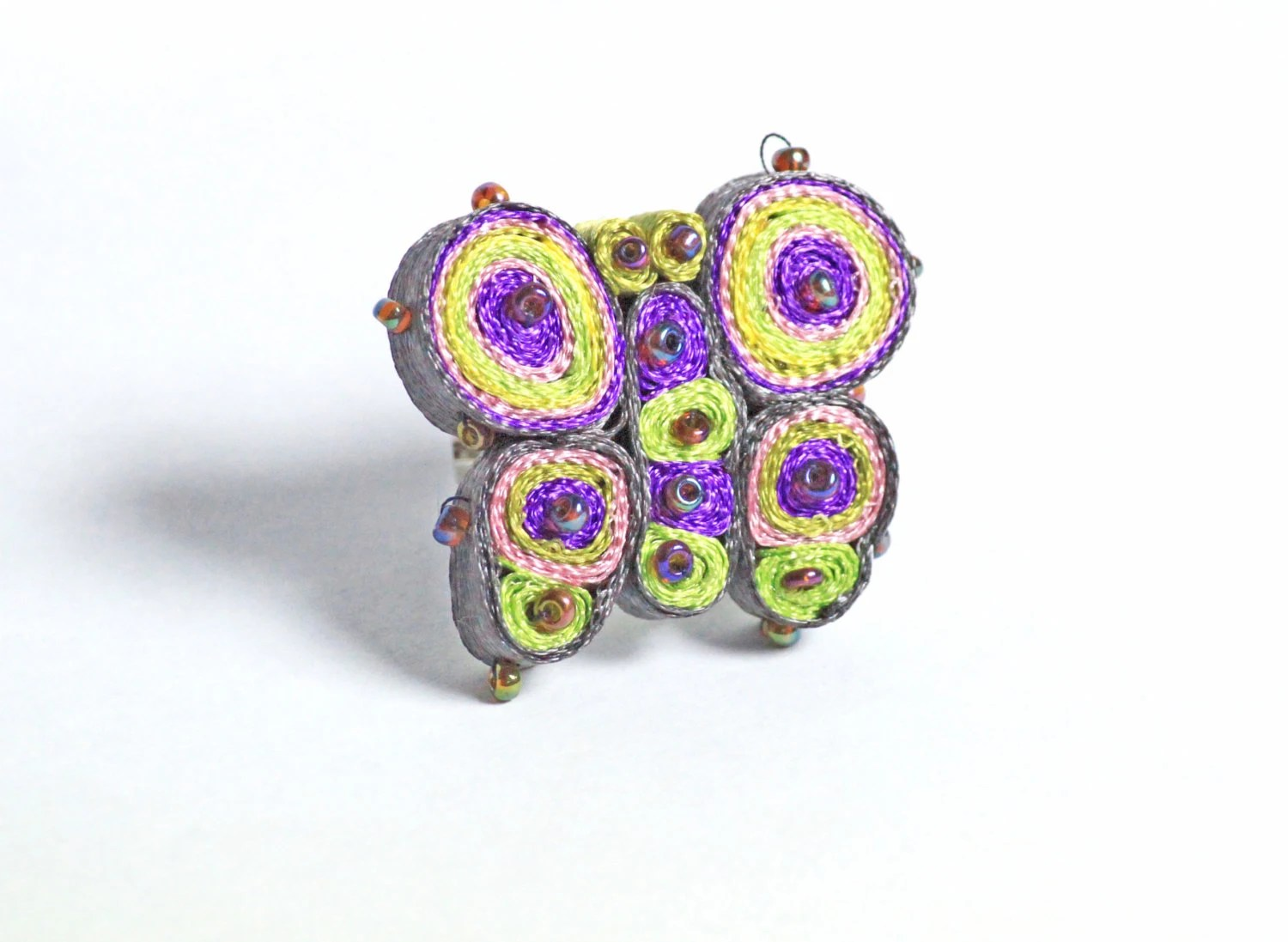 Butterfly textile ring - adjustable ring - made to order - HanhmadebyUkropova