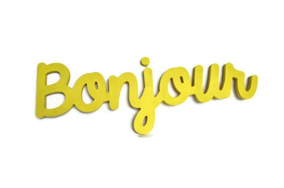 Bonjour wooden sign wall hanging - cheery yellow wall decor ready to hang - TheLettery