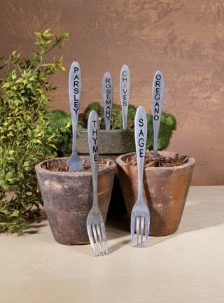 Old Herb Forks Shabby Garden Markers Sage,Parsley, Rosemary, Thyme, Chives, Oregano Set of 6