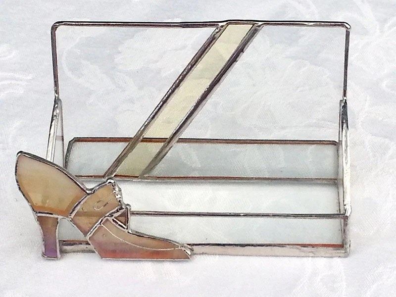 Stained Glass Shoe Business Card Holder or Post-It Holder