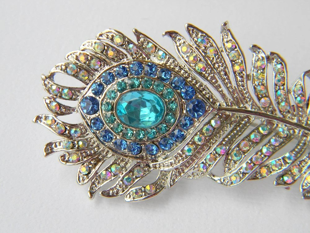 Rhinestone Peacock Feather Hair Clip - Aqua and Turquoise - Bridal Hair Clip - Bridesmaid Hair Clip - Wedding