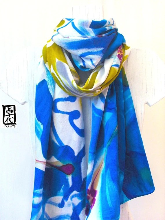 Hand Painted Silk Shawl Blue Hawaiian Hibiscus, Blue Silk Scarf, Floral Shawl. Evening Wrap. Silk Charmeuse Shawl. 22x90 in. Made to order.