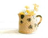 Vintage Creamer Beehive Yellow Honeycomb Small Pitcher Shamrocks - DairyFarmAntiques