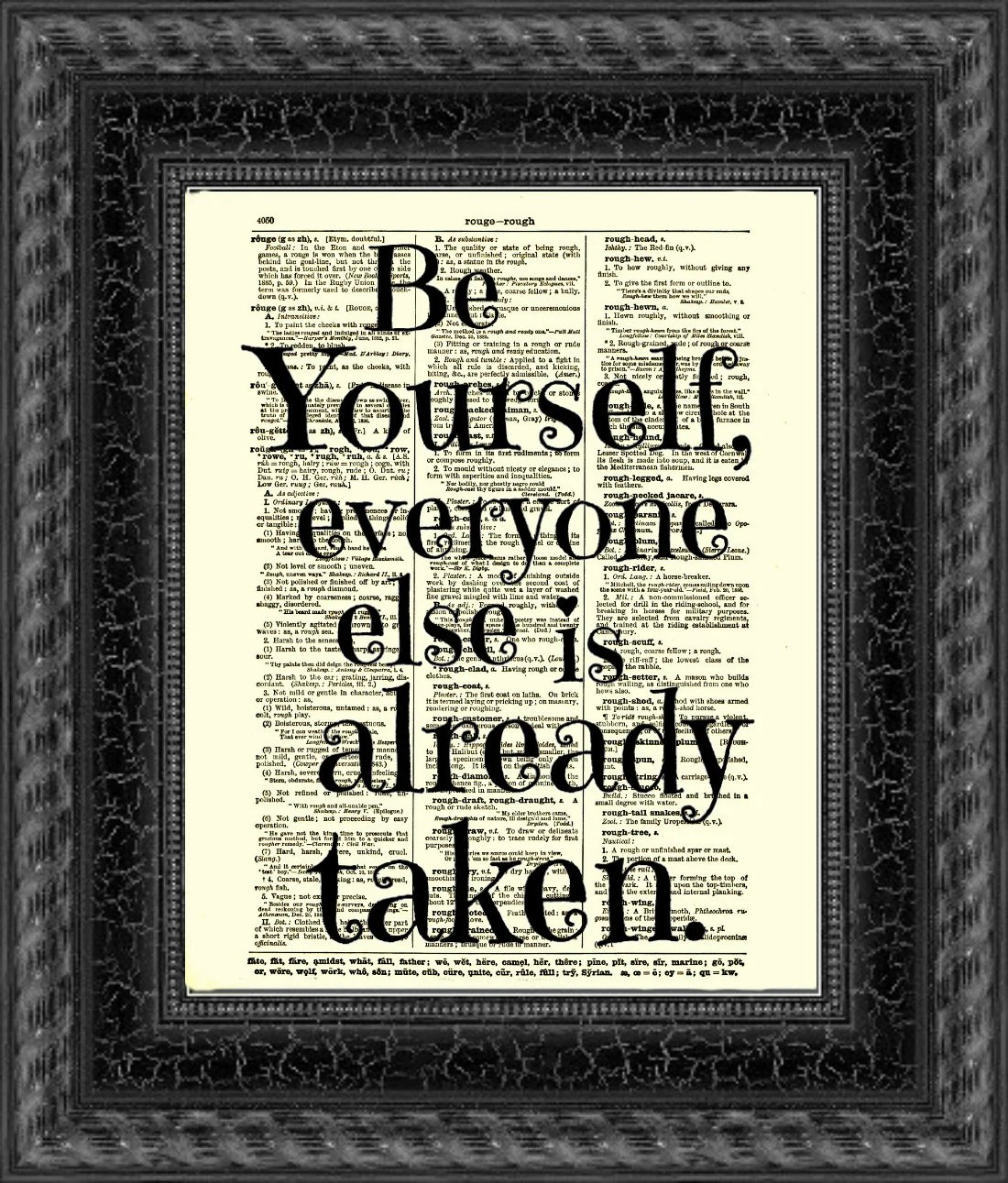 Be Yourself, Everyone Else is Already Taken, Oscar Wilde Quote, Dictionary Print, Wall Decor, Art Print, Mixed Media