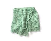 Pippi's Mint Green Crochet Pareo Summer Sarong Scarf Beach Cover-up Swim wrap Wrap Skirt Flowery, Floral, Summer Fashion - pippisLongstockings