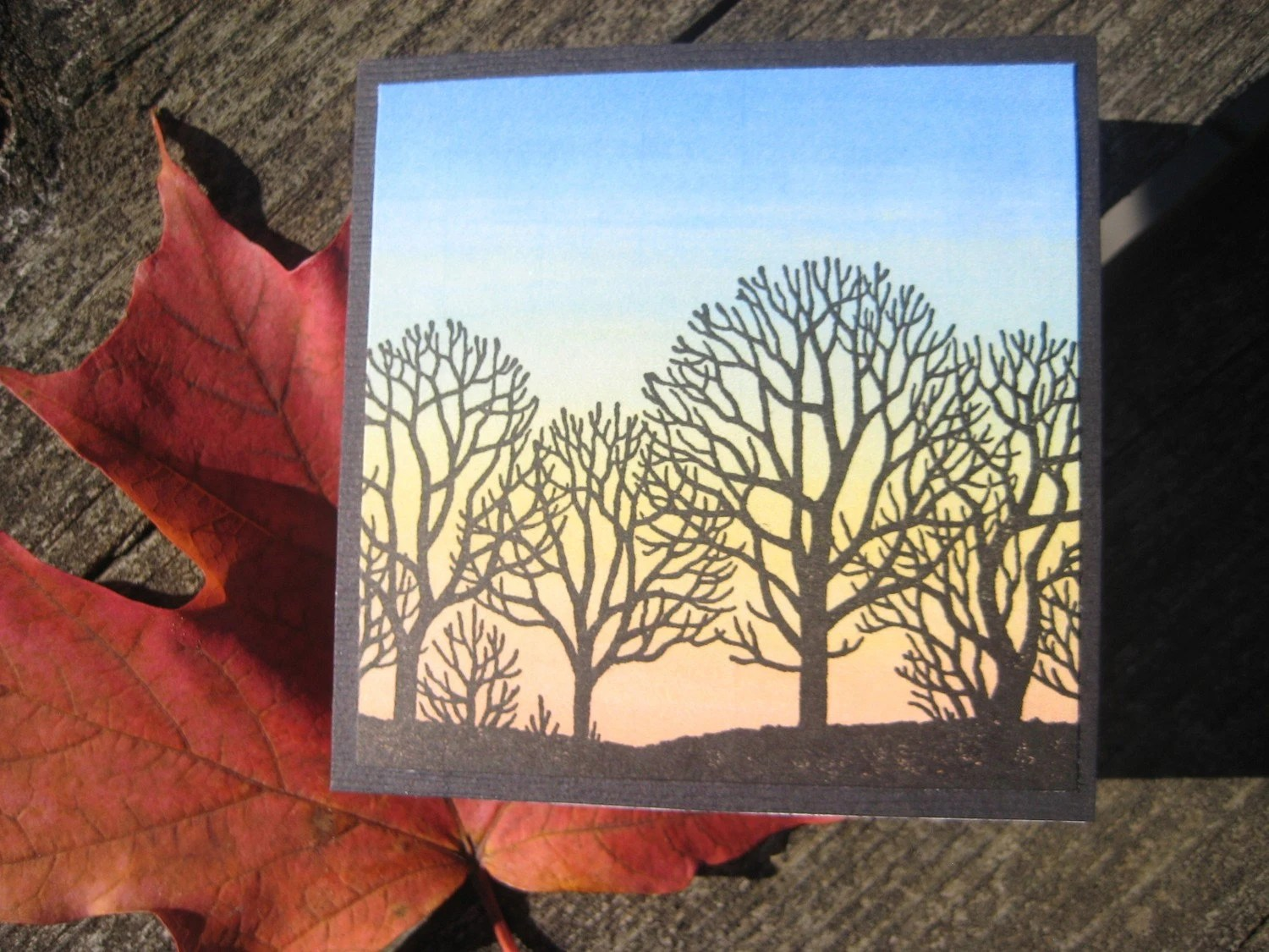Tree Silhouette Mini Cards - Set of 3