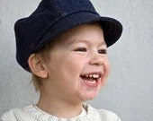 Organic Newsboy Cap for Kids in Dark Blue Denim, 2T to 3T, Perfect for Family Holiday Pictures,  READY to Ship