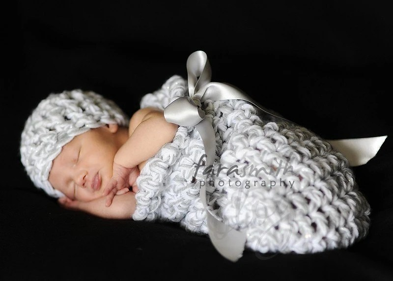 Newborn Cocoon Set in Silver Bells
