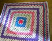 CROCHET BLANKET HANDMADE - Large Square style blanket pinks,green,lavender, bright yellow,green,white baby (nannycheryl original) 221