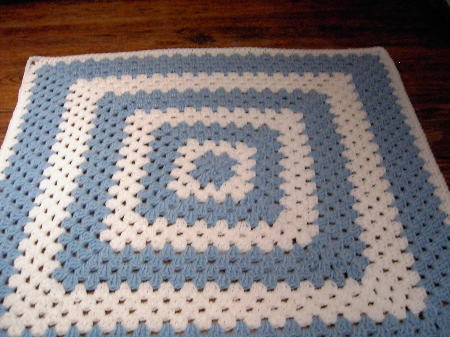 Crochet Blanket - Large Chunky Square style blanket with with blue/white      598