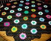 New handmade Hexigan Granny design spring green/white colour Crochet Blanket CUDDLE BLANKET ( nannycheryl original)   638