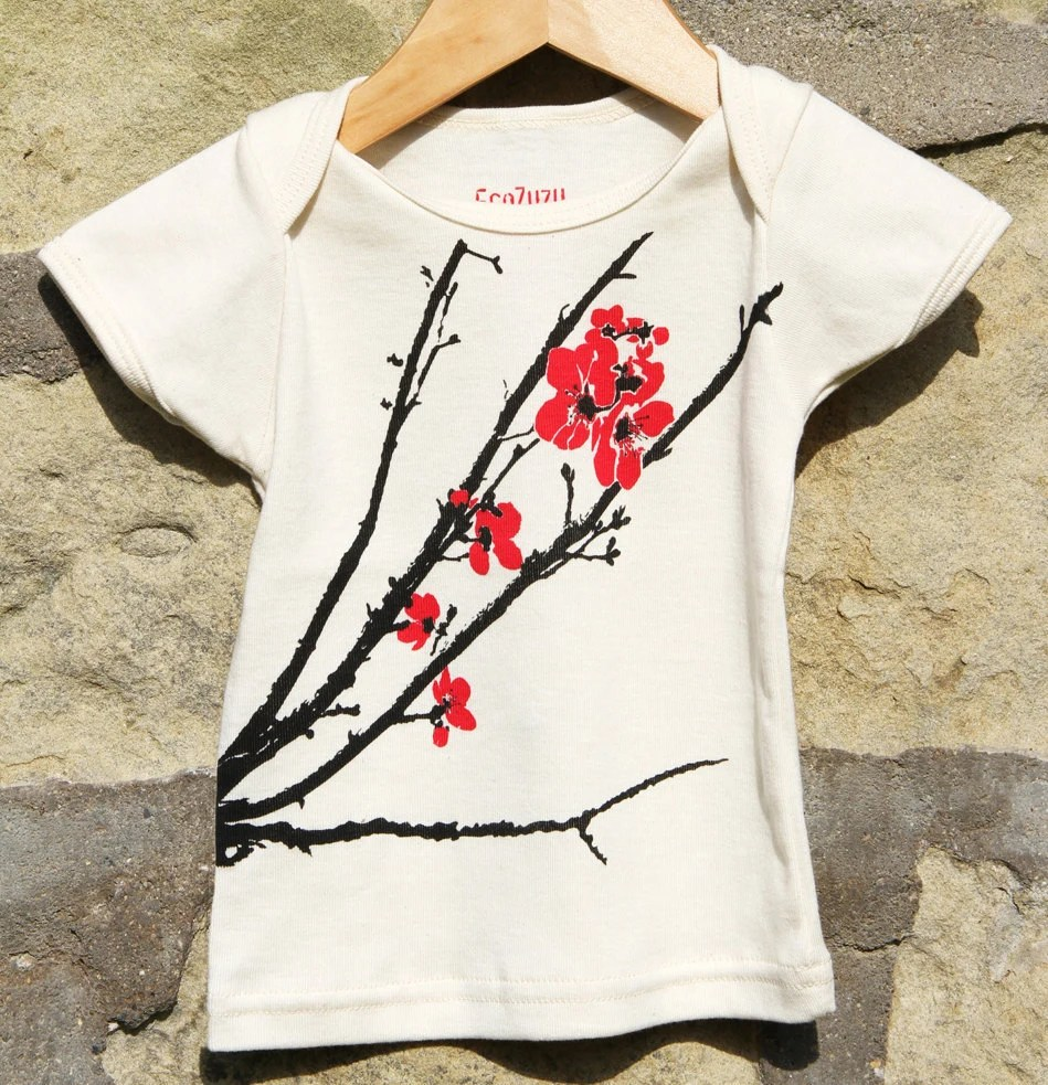 CHERRY BLOSSOM Organic baby girl envelope tee (3-6 months, 6-12 months, 18-24 months)