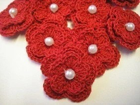 Bright Red Crochet Flowers with Pearl Centers