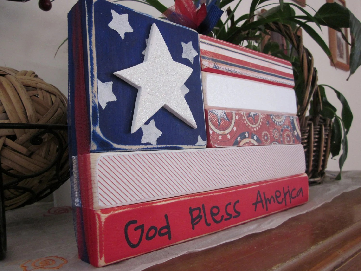 Patriotic wood flag stacker blocks, wood sign shelf, home decor, God Bless America, Red White and Blue, summer seasonal stacker blocks