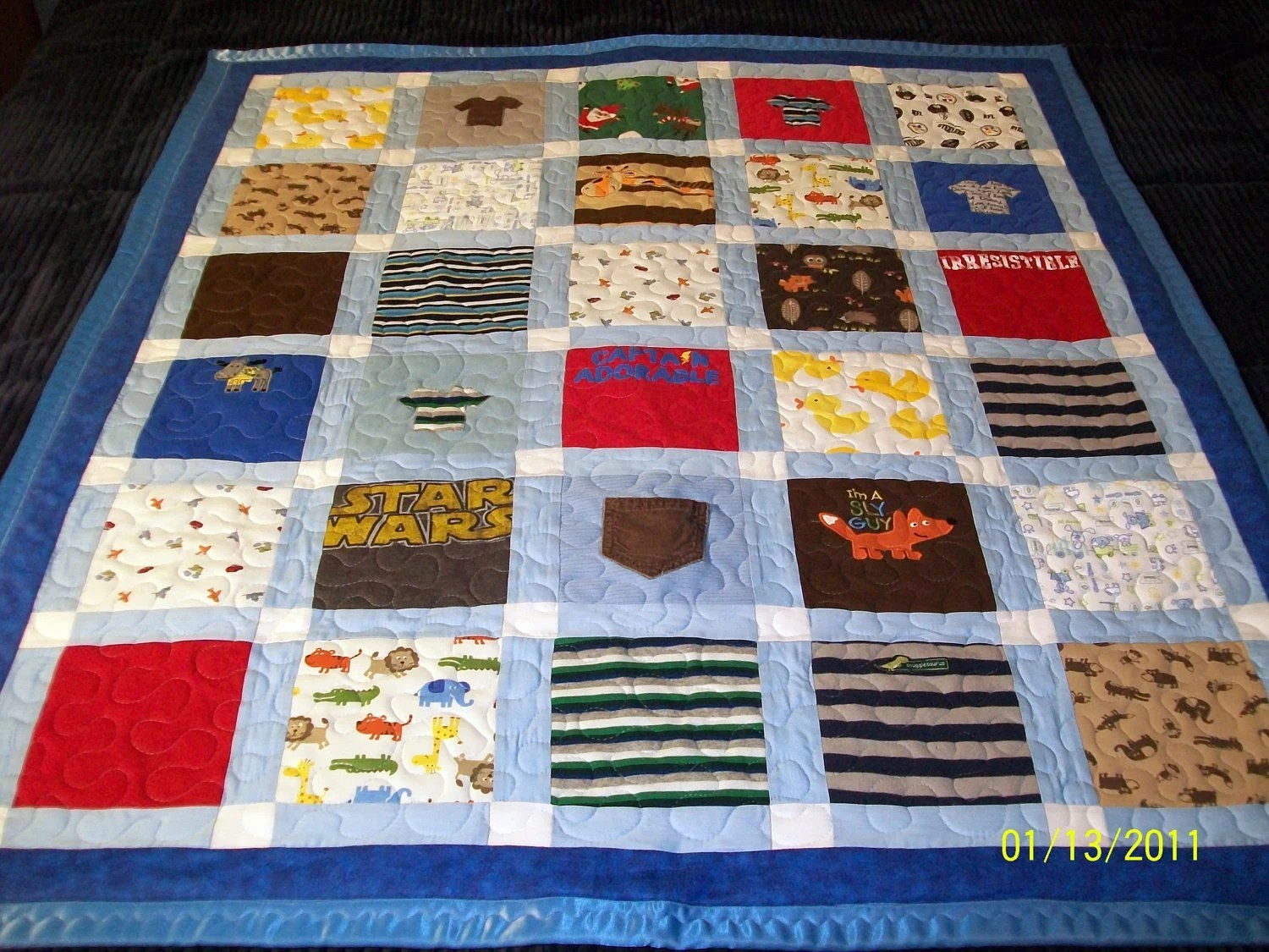 "Custom Baby Quilts Baby Size 42"" x 49"" (20 to 30 Clothing Items)"