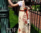 Classic Girls Full Apron, Regency Era Inspired, pdf Sewing Pattern, Thumbprint Patterns, ebook