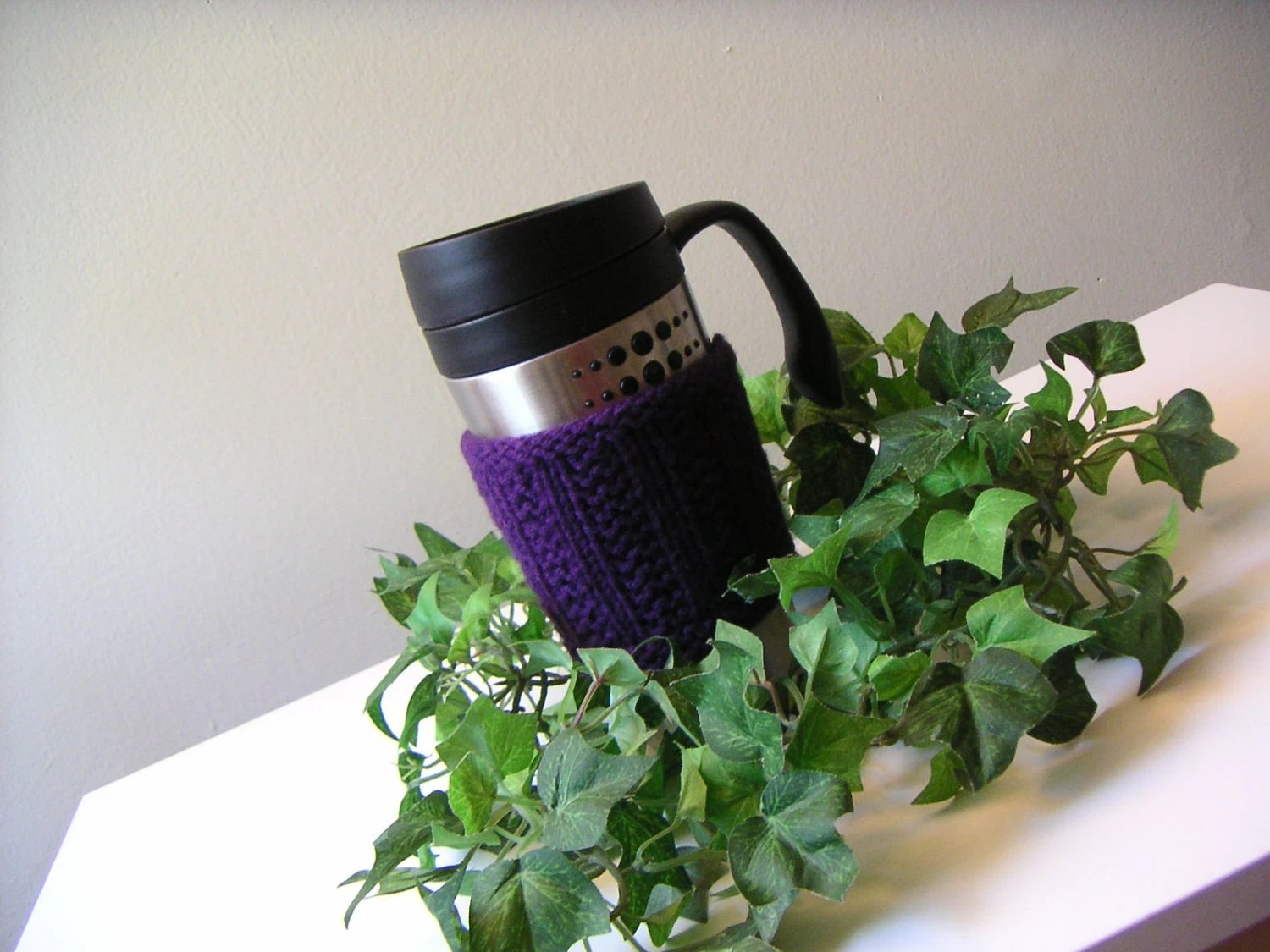 Hand Knit Cup Cozy - Amethyst