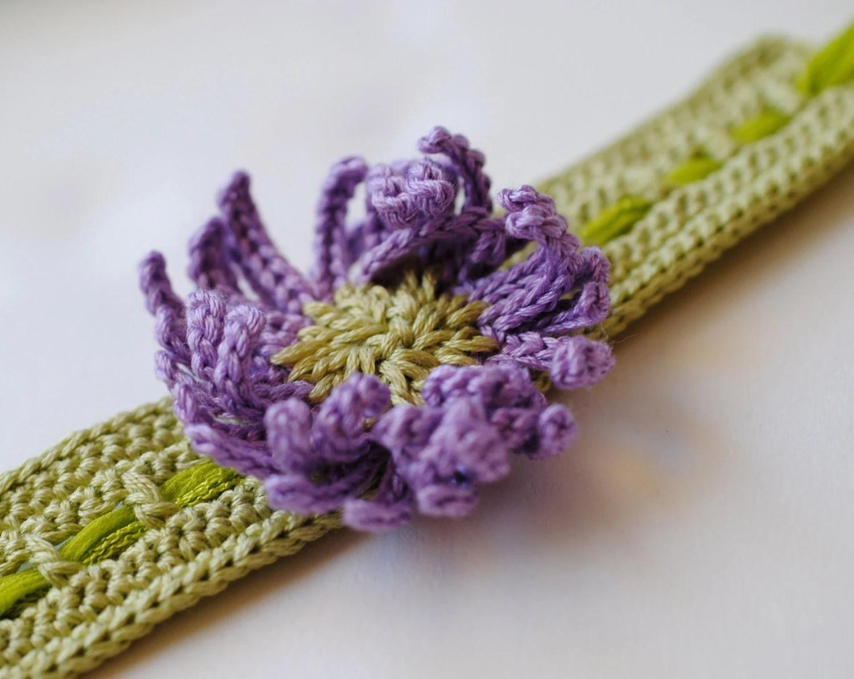 Bracelet Cuff Choker Green Flower Lilac Silk Ribbon Handmade - twoknit