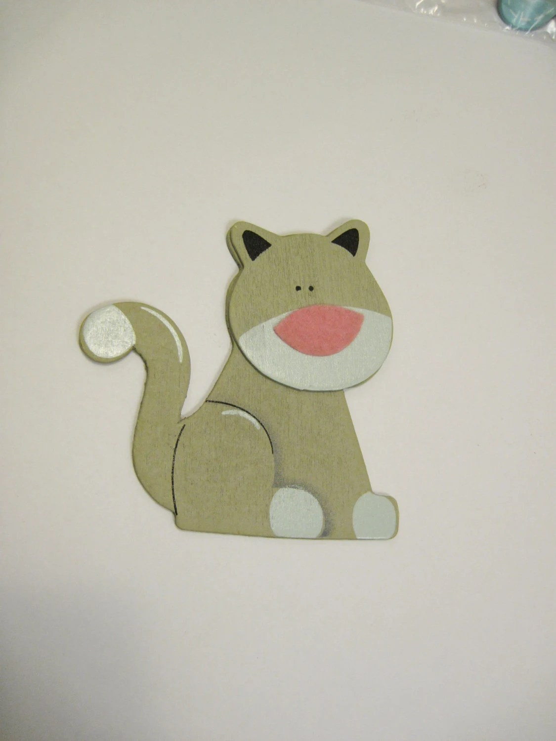 Wooden Cat Magnet