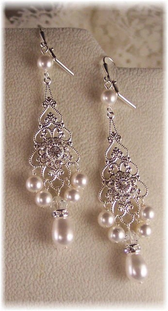 Filigree Swarovski Pear/Crystal Wedding Earrings
