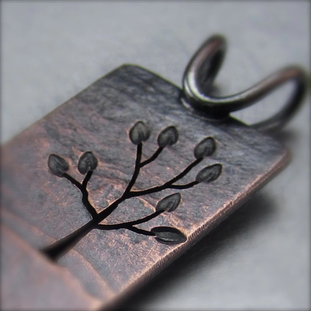 Copper Landscape Pendant.  Reversible Copper Tree Pendant