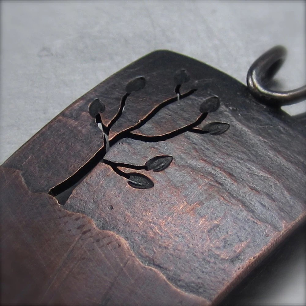 Copper Tree Pendant.  Reversible Leafy Tree Pendant