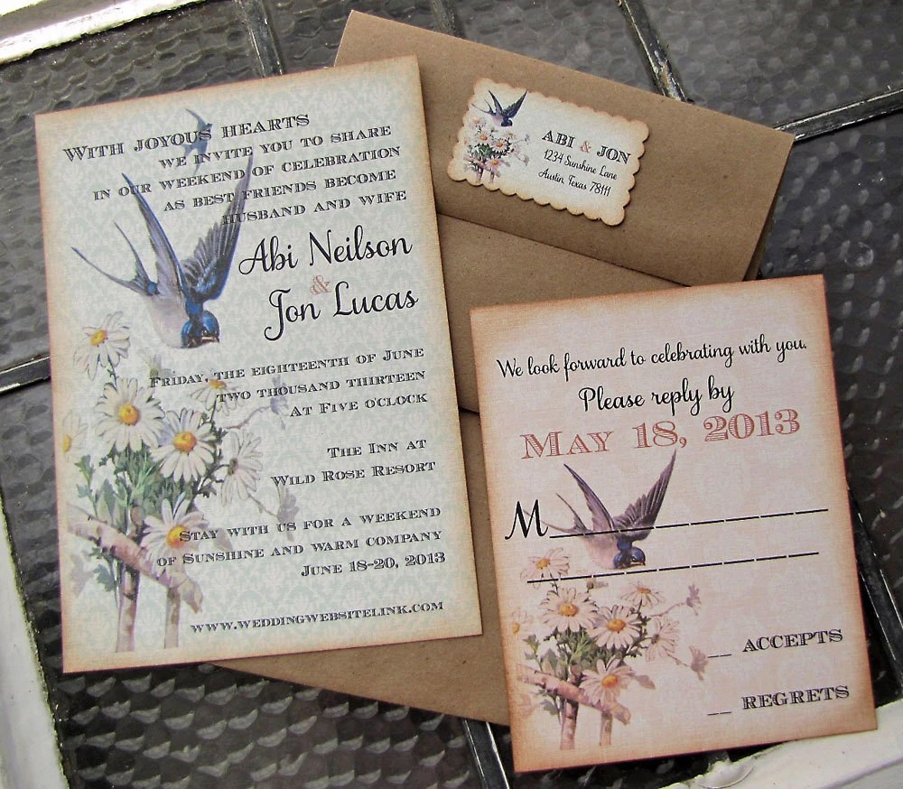 Vintage Wedding Invitation- Blue Bird of Happiness- Garden Wedding-Recycled Linen