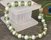 Beaded Anklet Ankle Bracelet with Swarovski Pearls and Kiwi Lustre Glass Pony Beads - A05