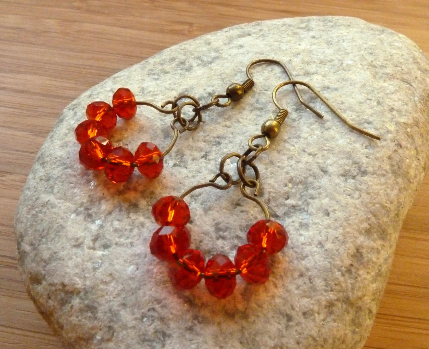 red crystal earrings -- Antiqued bronze circles of siam red swarovski crystal drop earings