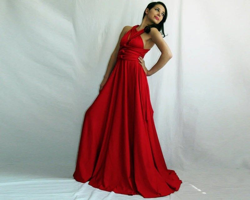 bridesmaid dress red dress Convertible Infinity Wrap Chameleon Maxi Dress Red