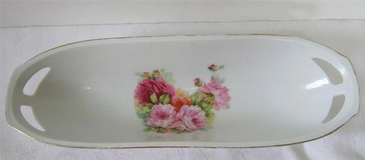 Vintage PINK ROSES Celery DISH from Germany Bread Gorgeous