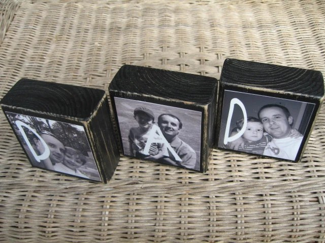 PERSONALIZED Picture Blocks For Dad or Mom - Birthday Gifts, Fathers Day Gift, him or her GiftsSET of 3 blocks - cjsworks