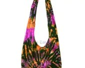 Pink Orange Spiral Hippie Hobo Mudmee Tie Dye Sling Crossbody Bag Purse A2 - LittleEastBay